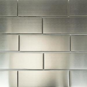Splashback Tile Stainless Steel 2 In X 6 Floor And Wall 2x6 Metal The Home Depot