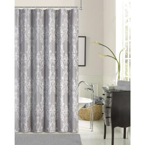 Floral Damask 72 inch Silver Cotton Blend Shower Curtain by