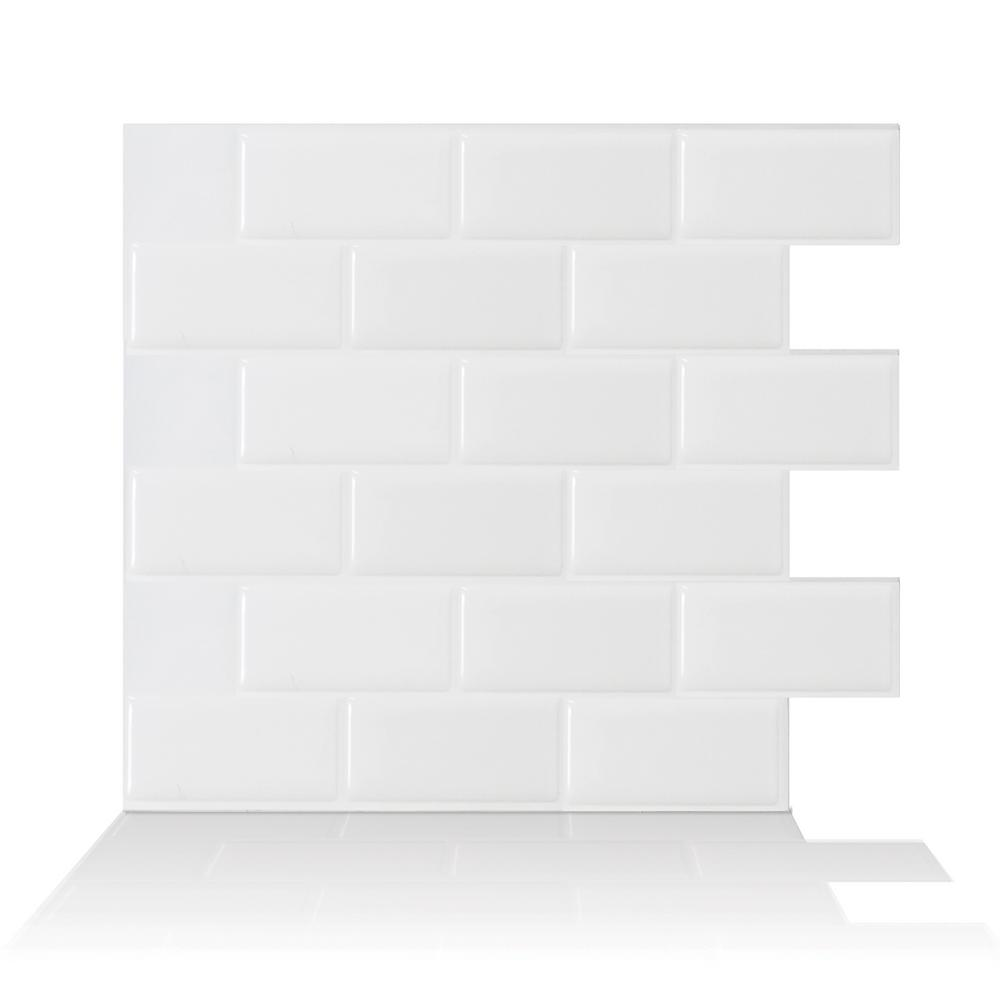 Smart Tiles Subway White 10.95 in. W x 9.70 in. H Peel and Stick ...