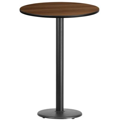 30 in. Round Black and Walnut Laminate Table Top with 18 in. Round Bar Height Table Base