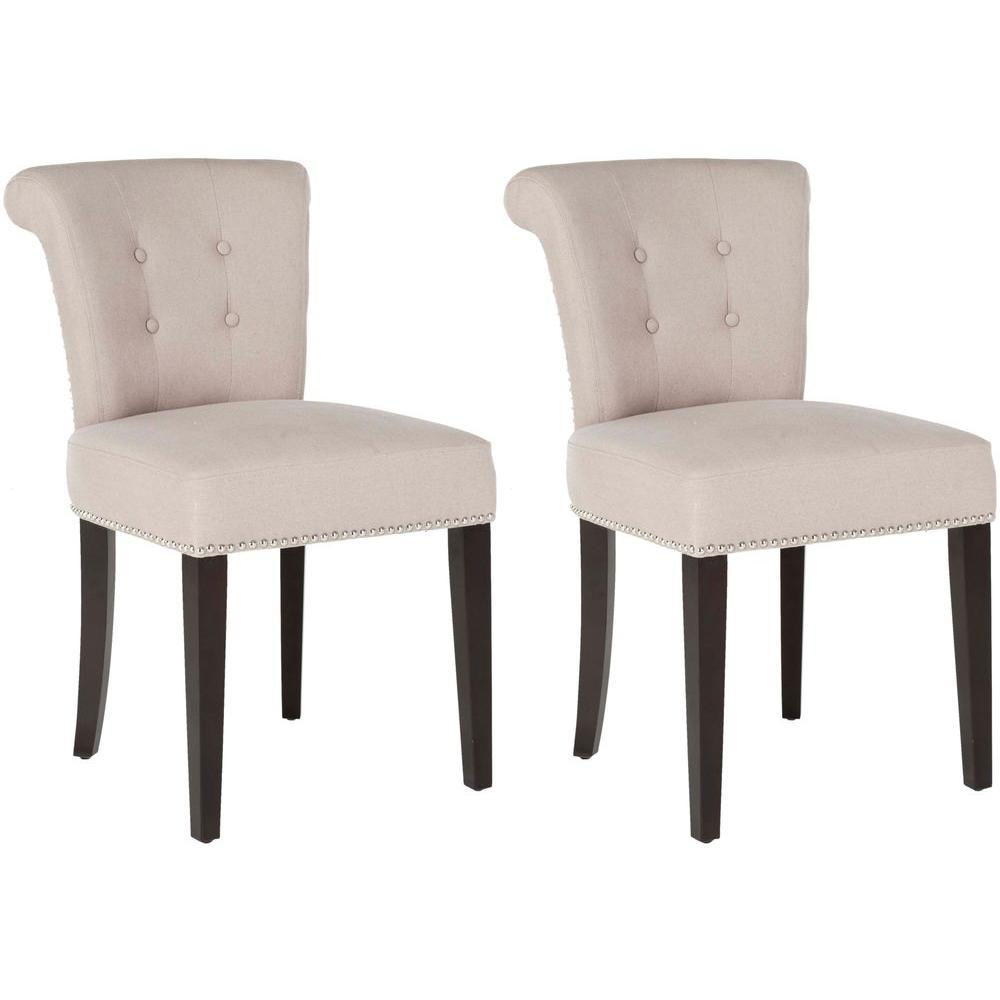 safavieh sinclair taupe espresso linen side chair set of 2 mcr4705b set2 the home depot. Black Bedroom Furniture Sets. Home Design Ideas