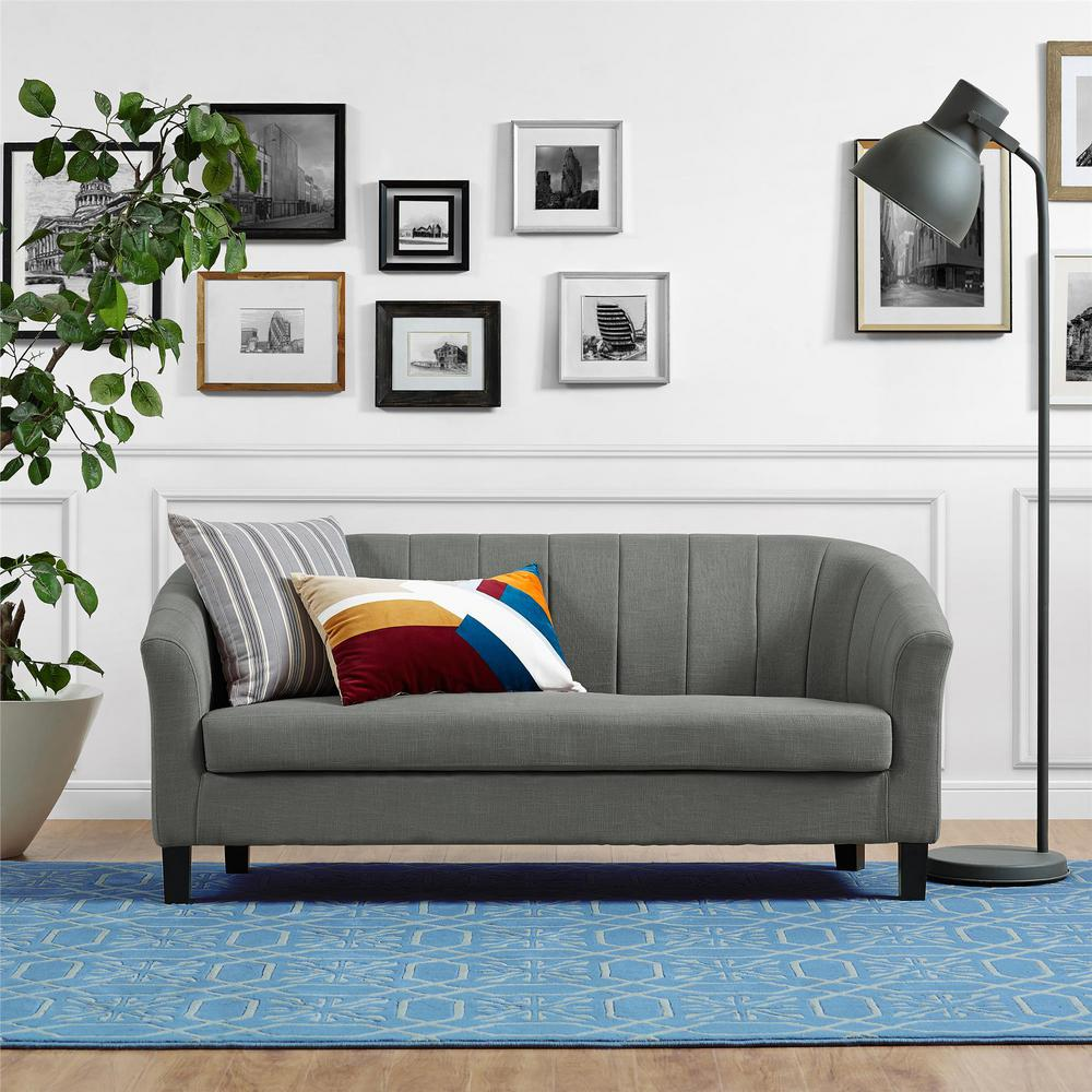 Dorel Living Roxanne Gray Linen Sofa