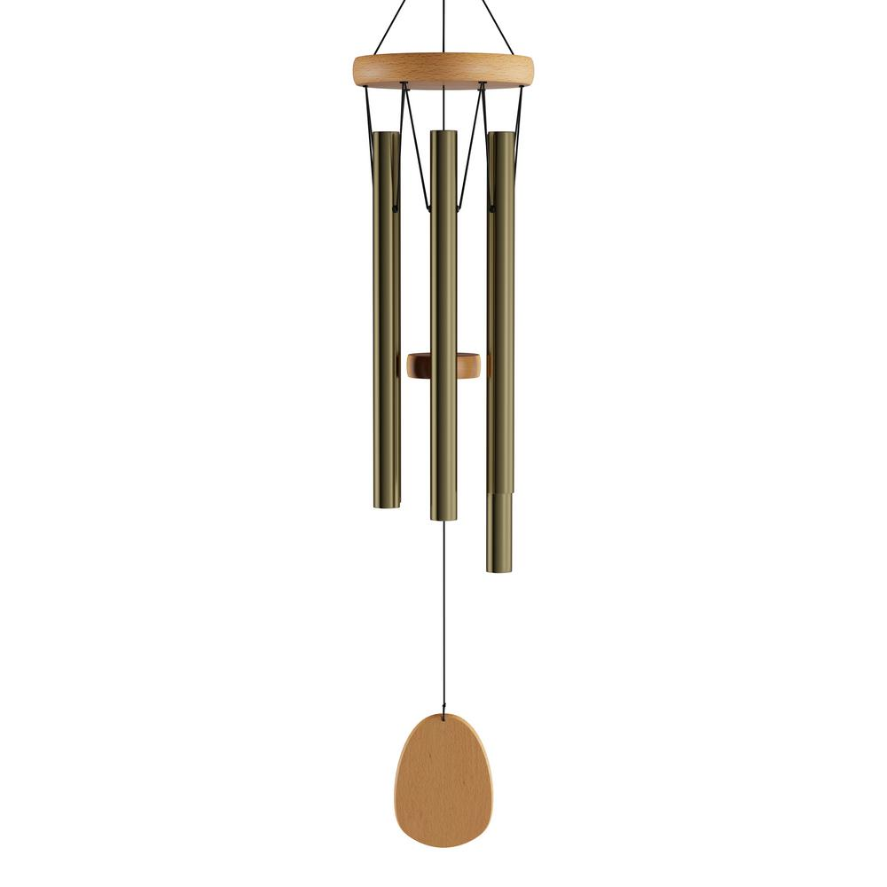 ce445918b Pure Garden 28 in. Metal and Wood Wind Chime in Gold-HW1500081 - The ...