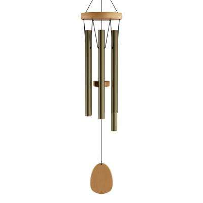 28 in. Metal and Wood Wind Chime in Gold