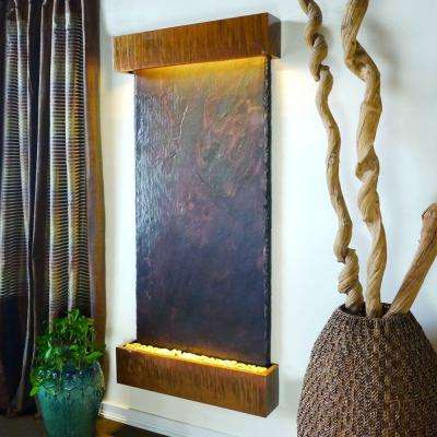 Grande Nojoqui Falls Lightweight Slate Wall Fountain in Copper Patina Trim