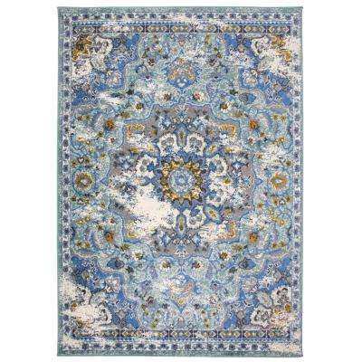"""Traditional Medallion Distressed Area Rug 7' 10"""" x 10' Blue"""