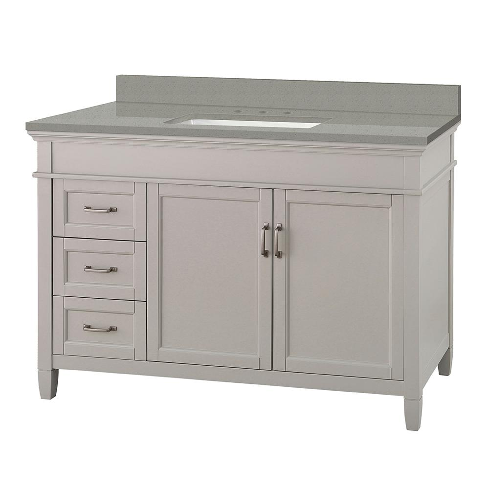 Foremost Ashburn 49 in. W x 22 in. D Vanity Cabinet in Grey with Engineered Quartz Vanity Top in Sterling Grey with White Basin was $1149.0 now $804.3 (30.0% off)