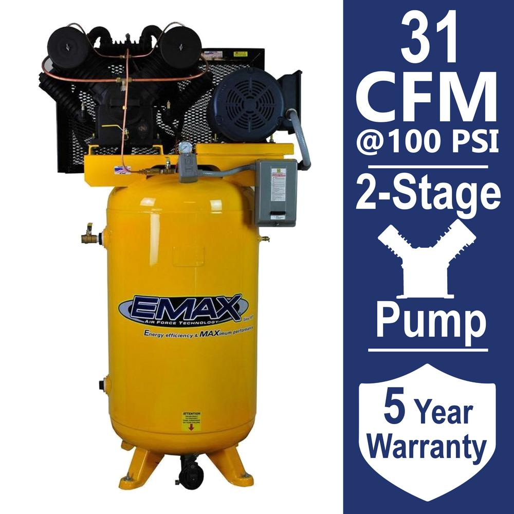 EMAX Industrial PLUS Series 80 Gal. 7.5 HP 1-Phase 2-Stage Vertical Stationary Electric Air Compressor