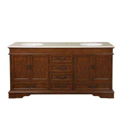 72 in. W x 22 in. D Vanity in Brazilian Rosewood with Marble Vanity Top in Crema Marfil with White Basin