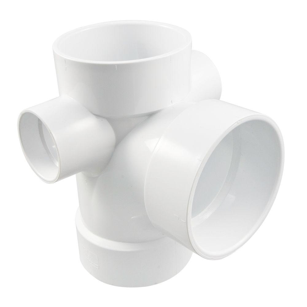 Nibco 4 In  X 4 In  X 4 In  X 2 In  X 2 In  Pvc Dwv All Hub Sanitary Tee With Right And Left