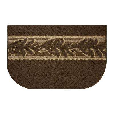 Olive Brunch Textured Loop Chocolate/Berber 18 in. x 30 in. Kitchen Rug