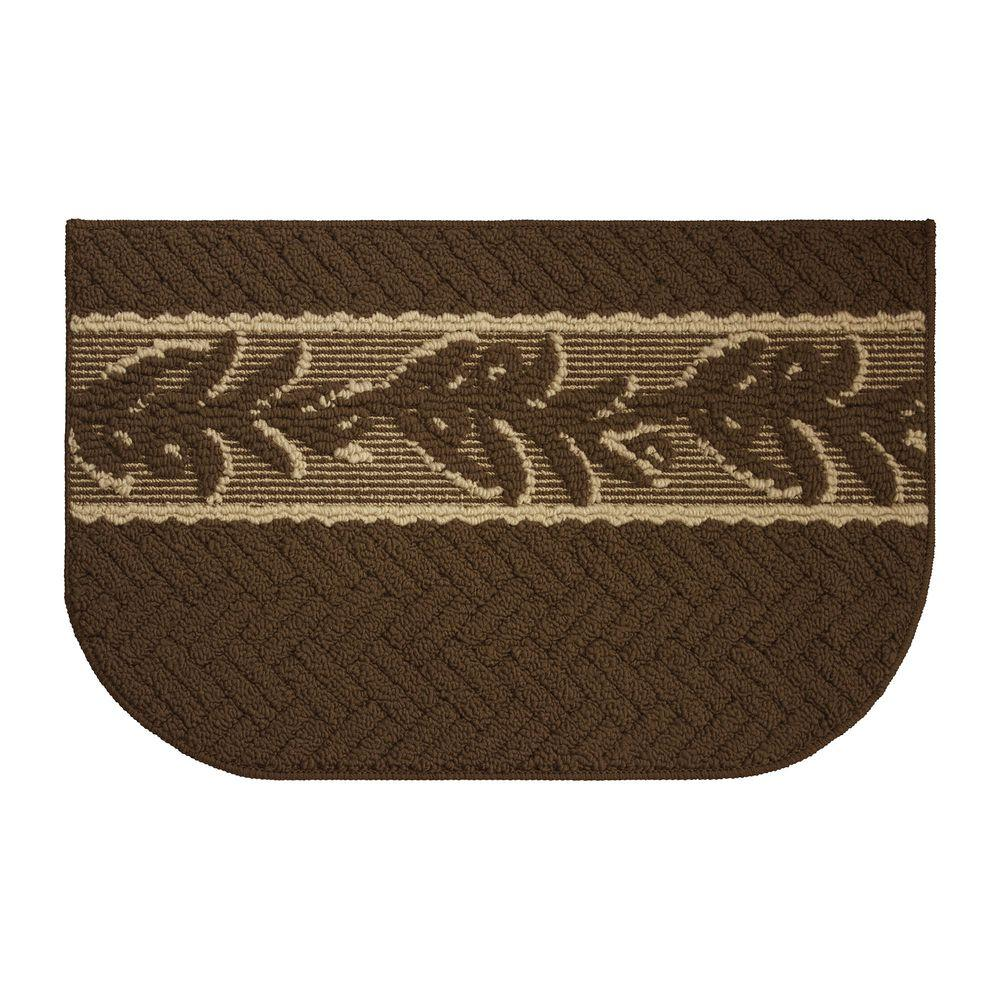Creative Home Ideas Olive Brunch Textured Loop Chocolate Berber 18 In X 30 In Kitchen Rug