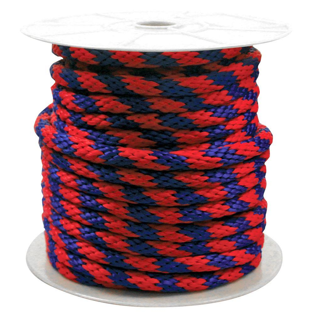 5/8 in  x 140 ft  Solid Braided Poly Rope Blue and Red
