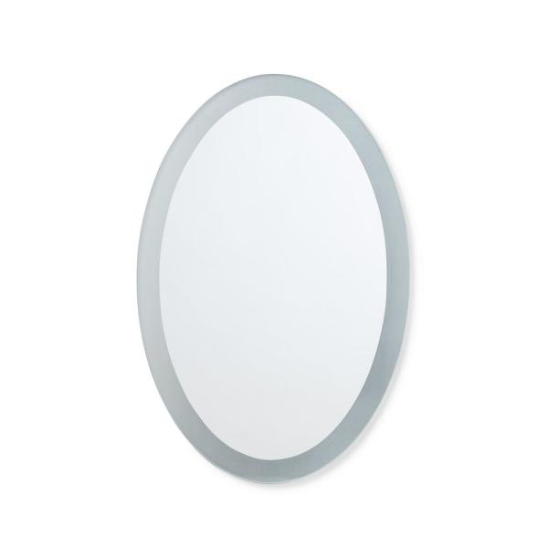 20 in. W x 28 in. H Frameless Frosted Border Oval Bathroom Vanity Mirror