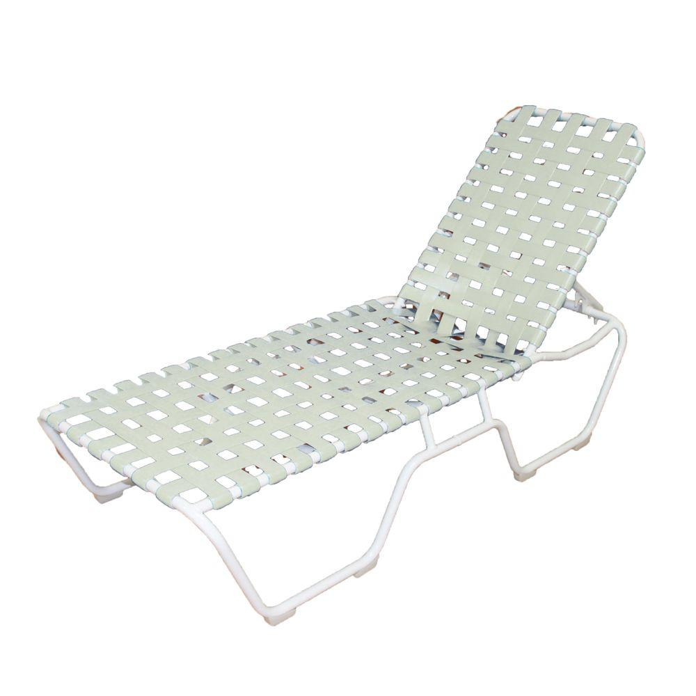 marco island white commercial grade aluminum vinyl cross strap outdoor chaise lounge in white 2. Black Bedroom Furniture Sets. Home Design Ideas