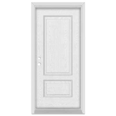 32 in. x 80 in. Infinity Right-Hand Inswing 2 Panel Finished Fiberglass Oak Woodgrain Prehung Front Door