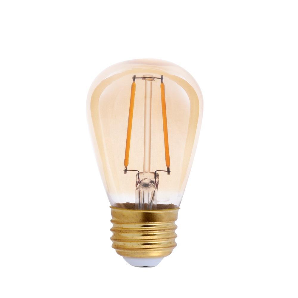 25-Watt Equivalent S14 Amber Glass Filament LED Light Bulb Amber 2200K