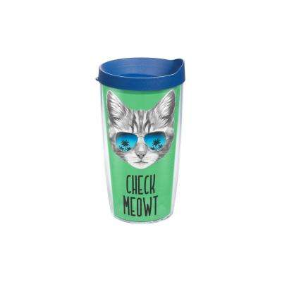 Check Meowt 16 oz. Clear Tumbler with Lid