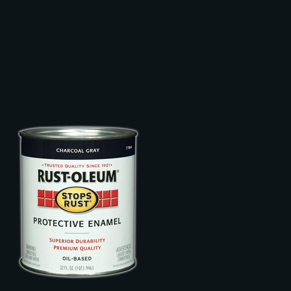 Charcoal Gray Paint >> Rust Oleum Stops Rust 1 Qt Protective Enamel Gloss Charcoal Interior Exterior Paint 2 Pack