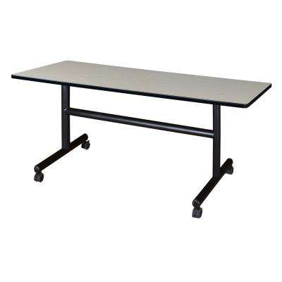 Kobe Maple 60 in. W x 30 in. D Flip Top Mobile Training Table