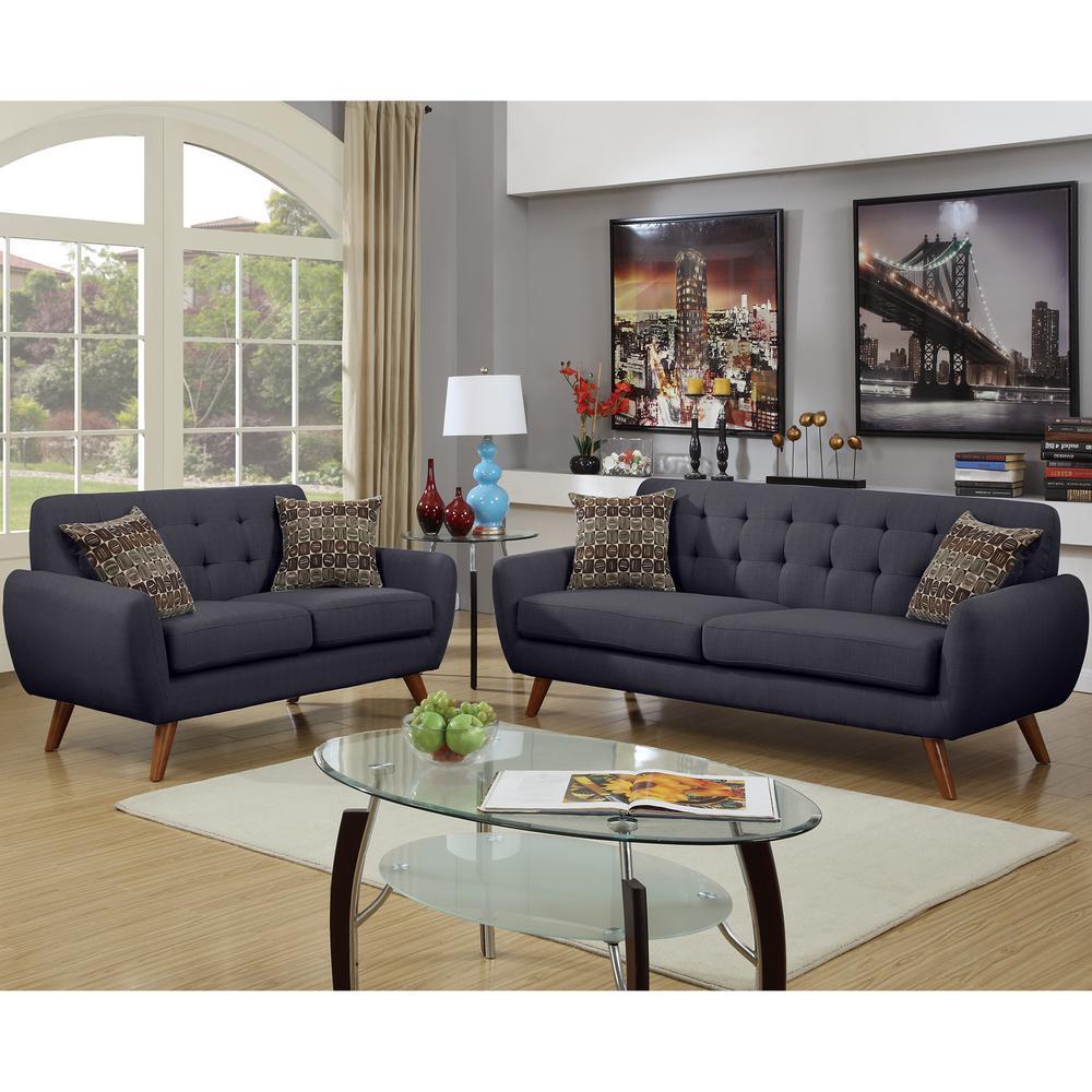 Venetian Worldwide Brescia 2-Piece Ash Black Sofa Set