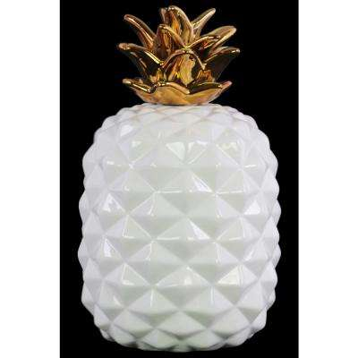 13.5 in. H Pineapple Decorative Figurine in White, Gold Gloss Finish