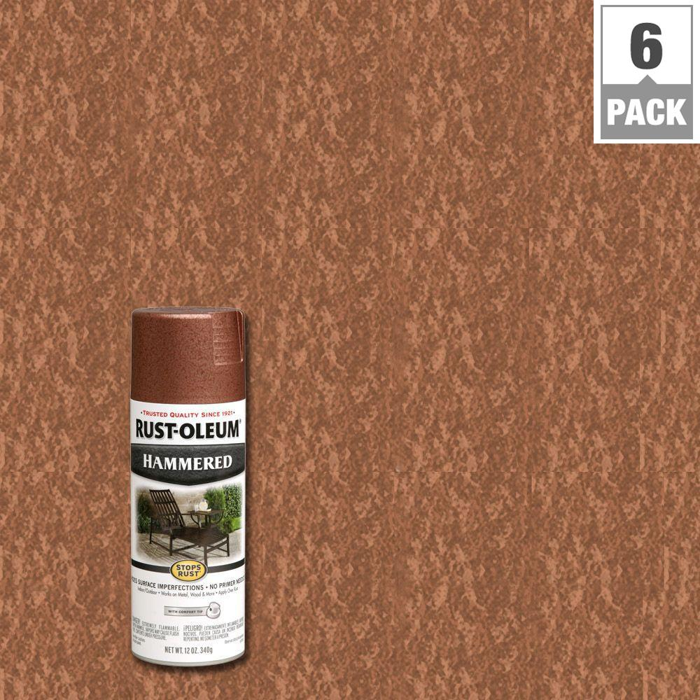 Rust Oleum Stops Rust 12 Oz Hammered Copper Protective Spray Paint 6 Pack