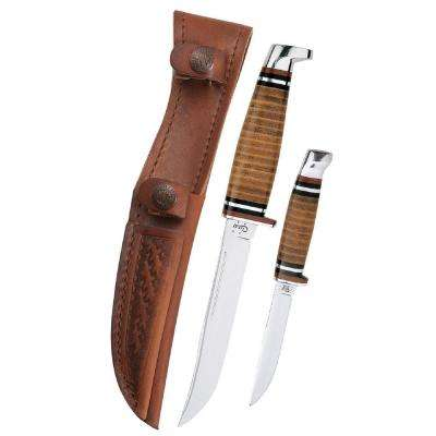 """""""Leather Knife Hunting Set with Leather Sheath (2-Piece)"""""""