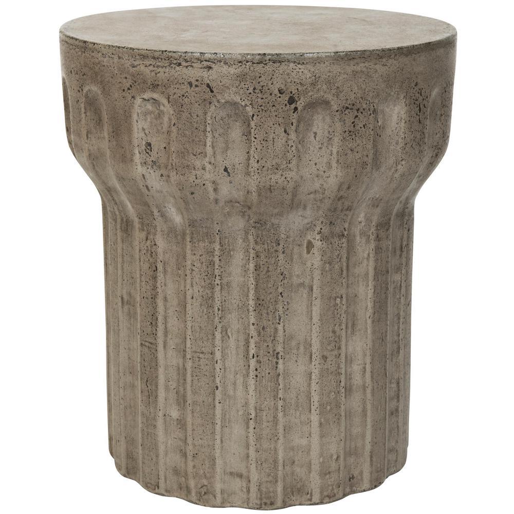 Vesta Dark Gray Round Stone Indoor/Outdoor Accent Table
