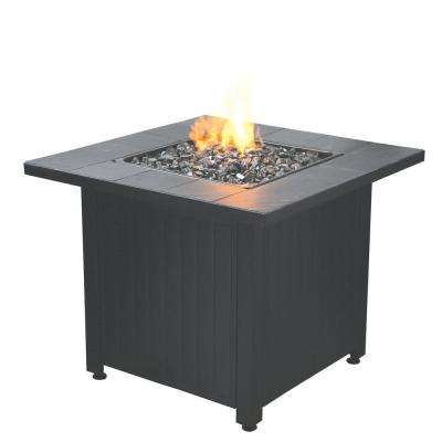Liquefied Petroleum Outdoor Patio Fire Table with Glass, Black