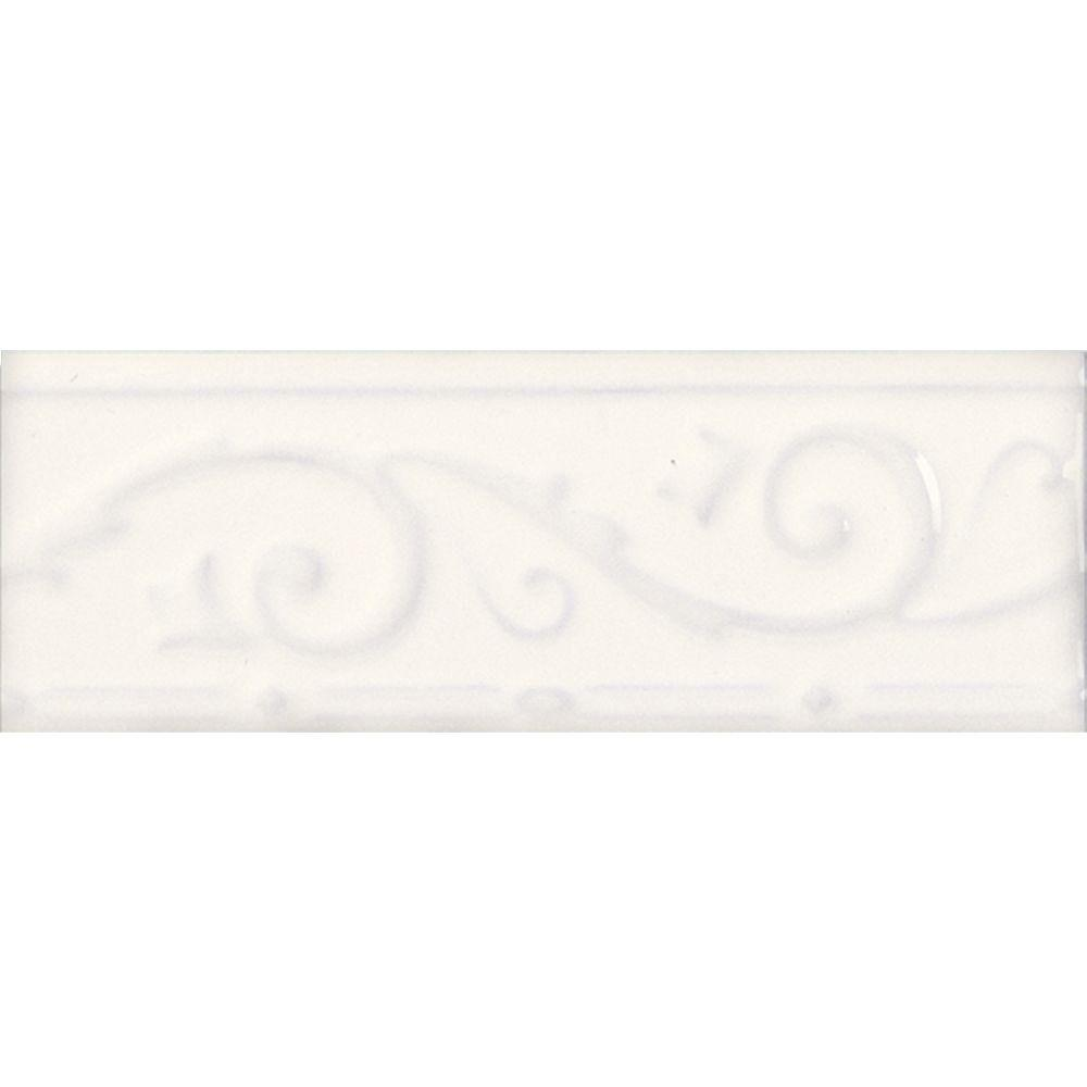 Daltile Fashion Accents White 3 in. x 8 in. Ceramic Ivy Listello Wall Tile