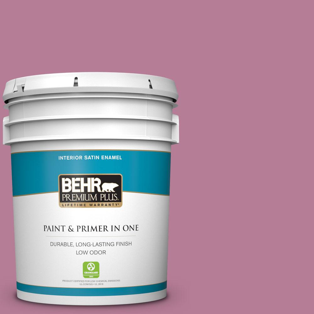 Behr Premium Plus 5 Gal M130 5 Cabaret Satin Enamel Low Odor Interior Paint And Primer In One 740005 The Home Depot