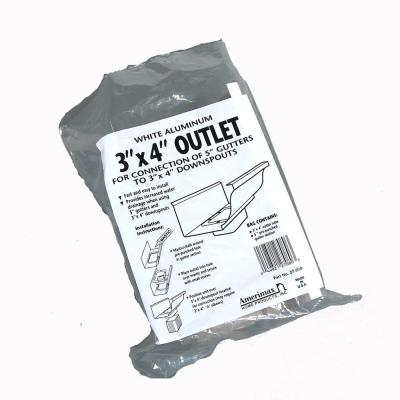 5 in. White Aluminum Gutter End with 3 in. x 4 in. Plastic Drop Outlet