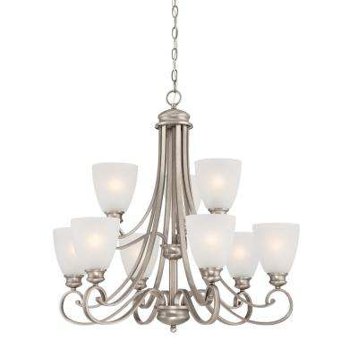 Haven 9-Light Satin Pewter Chandelier With Etched Glass Shades