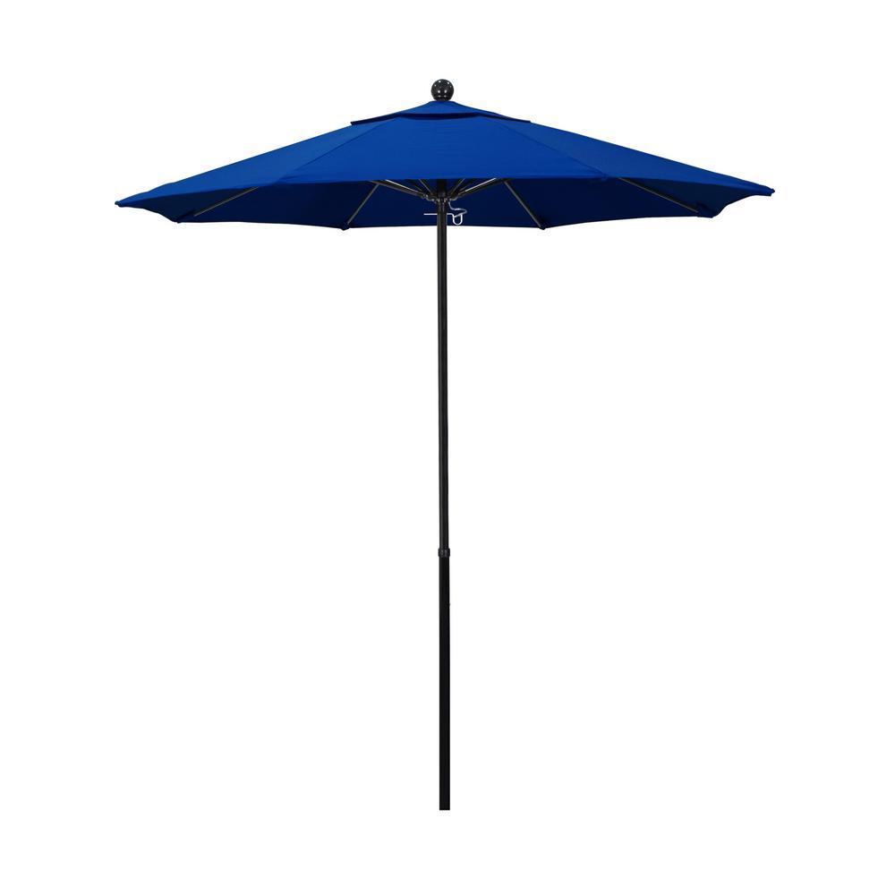 7.5 ft. Black Complete Fiberglass Market Pulley Open Patio Umbrella in Pacific Blue Pacifica