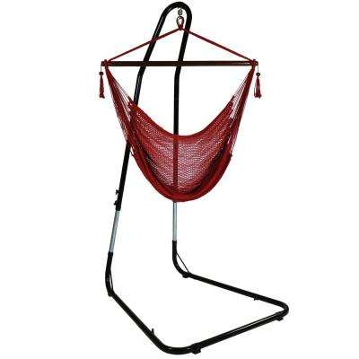 4 ft. Hanging Caribbean XL Hammock Chair with Adjustable Stand in Red