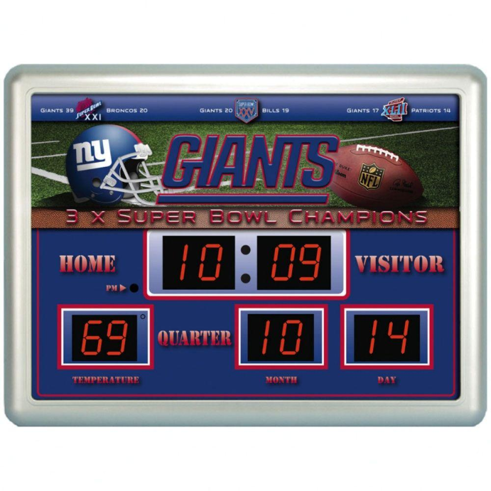 null New York Giants 14 in. x 19 in. Scoreboard Clock with Temperature