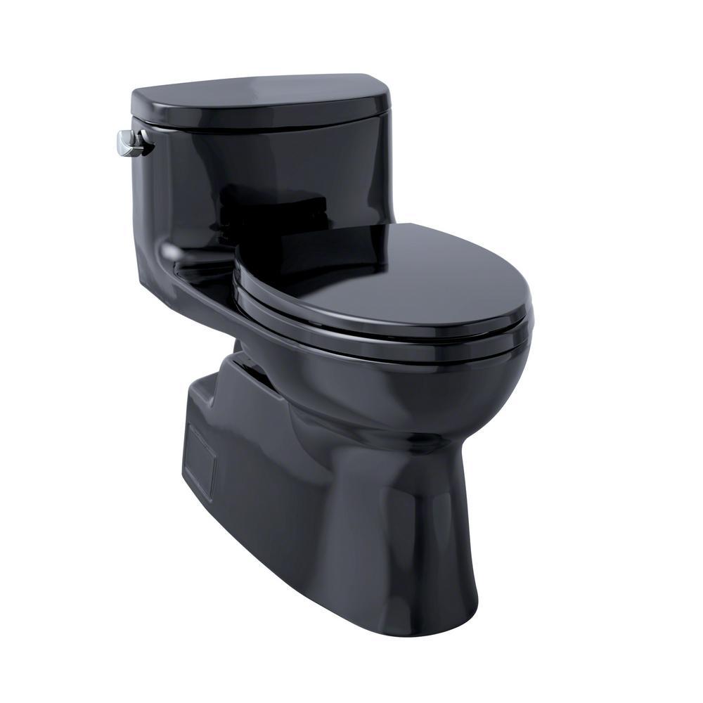 Carolina II 1-Piece 1.28 GPF Single Flush Elongated Skirted Toilet in Ebony