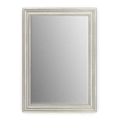 33 in. x 47 in. (L1) Rectangular Framed Mirror with Deluxe Glass and Flush Mount Hardware in Vintage Nickel