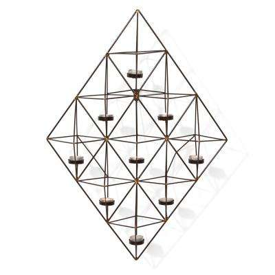 Geometric Black and Gold Metal Wall Tea Light Holder