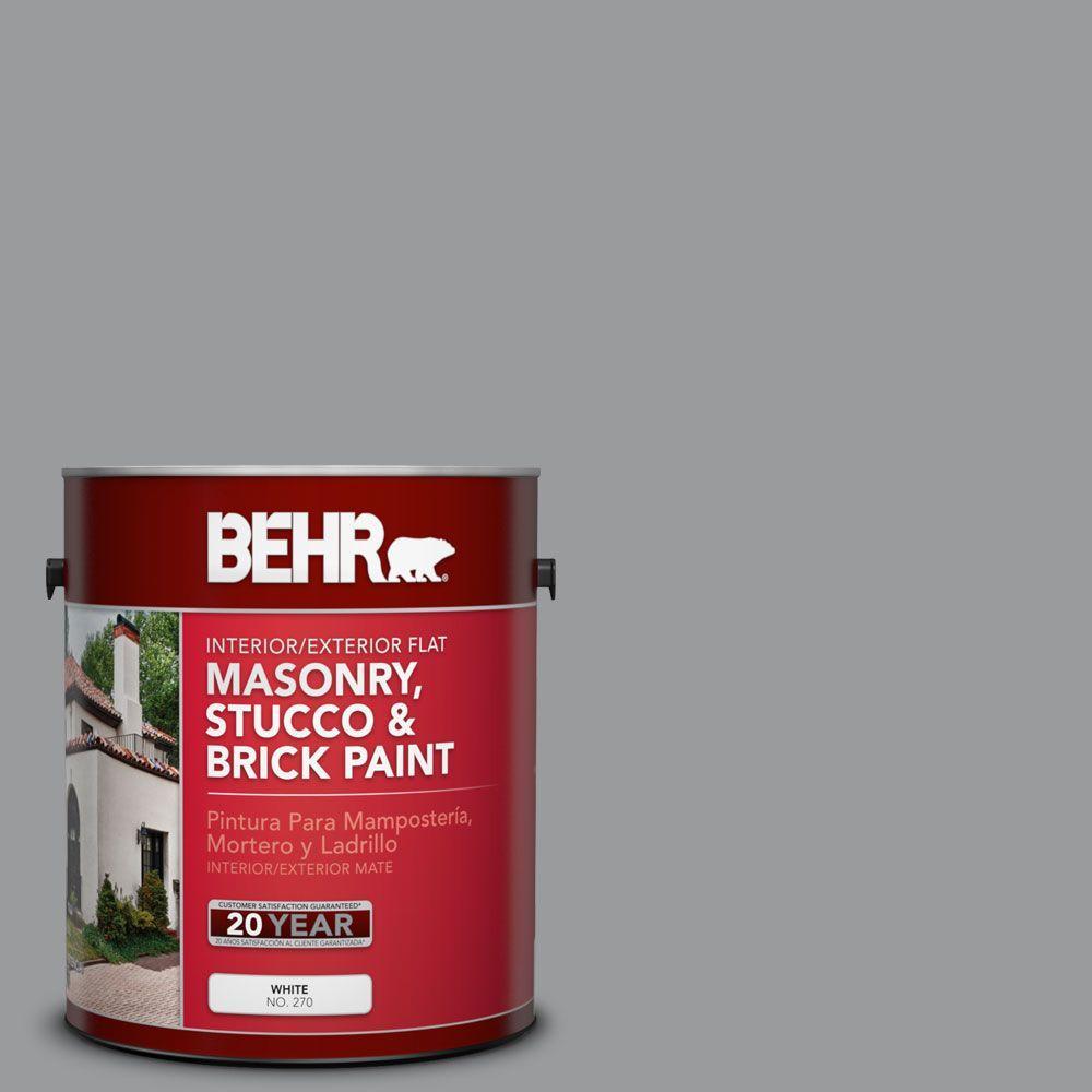 1 gal. #MS-82 Cobblestone Grey Flat Masonry, Stucco and Brick Interior/Exterior Paint