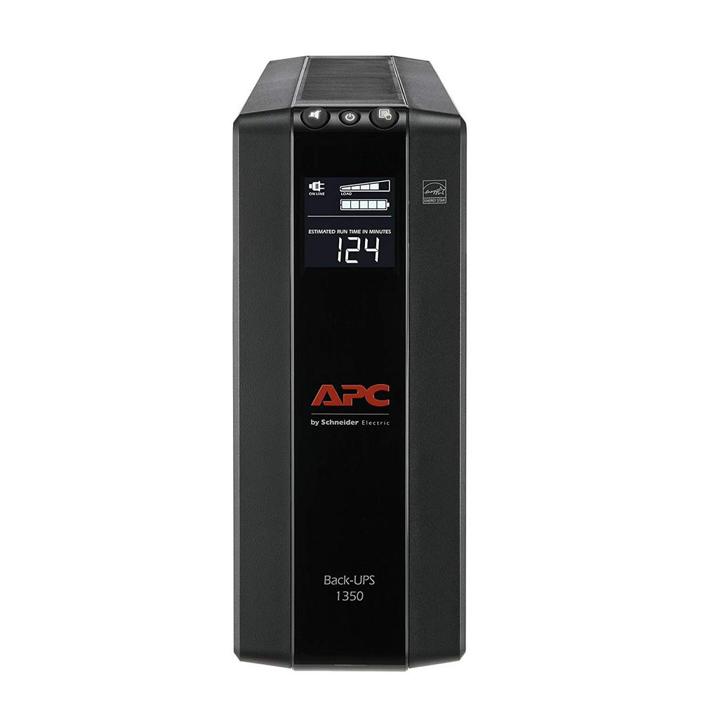 APC 10-Outlet Back-UPS Pro Compact Tower 1350VA AVR LCD The Back-UPS Pro uninterruptible power supply provides power to your critical devices during a power outage, allowing you to continue working or gaming and stay connected to your network. Ideal for PCs, home office electronics, networking devices, SmartHome devices and gaming consoles. The new compact tower models are significantly smaller and lighter, allowing for convenient use and installation while still providing quality power protection and valuable features to guarantee certainty and peace of mind in a connected world.