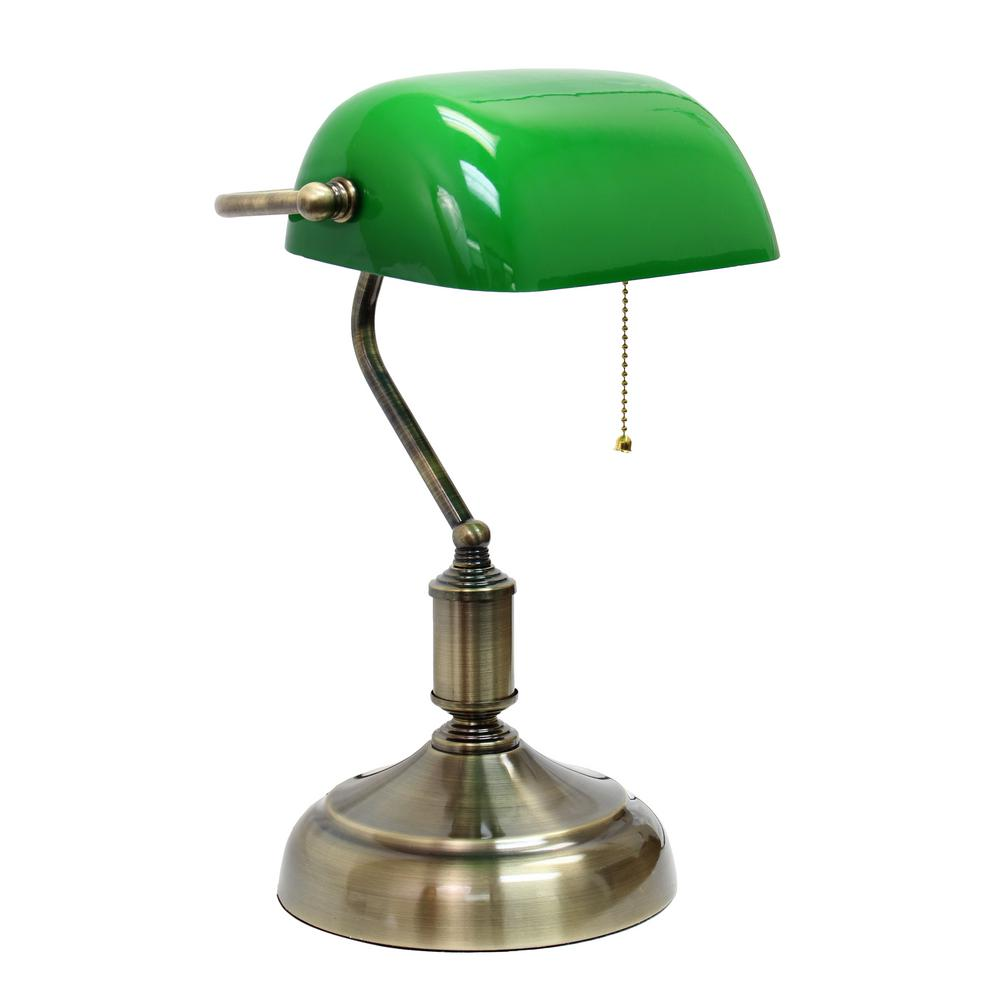 Executive Banker's Green Glass Shade Desk Lamp with Antique Nickel Base - Simple Designs 14.75 In. Executive Banker's Green Glass Shade Desk