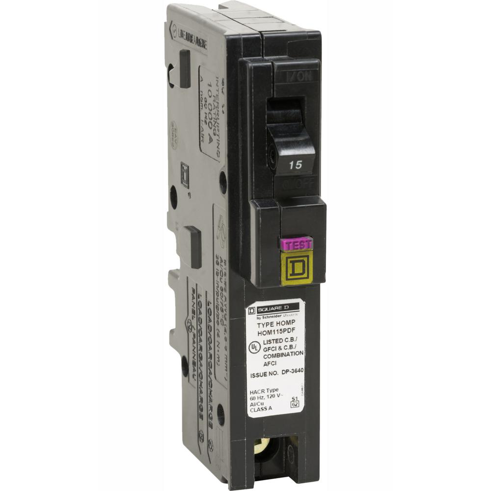 Square D Homeline 15 Amp Single-Pole Plug-On Neutral Dual Function (CAFCI and GFCI) Circuit Breaker
