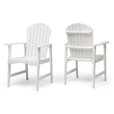 Malibu White Solid Wood Outdoor Dining Chairs (2-Pack)