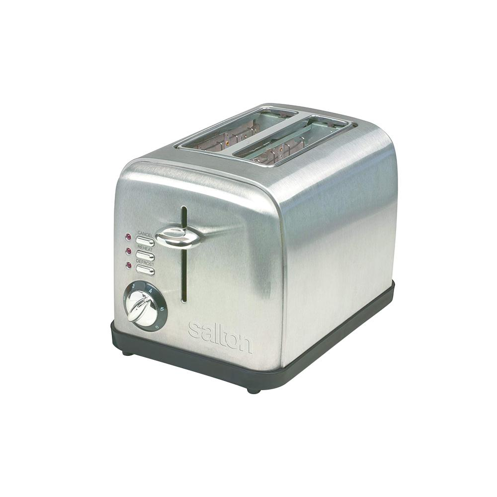 Electronic 2-Slice Stainless Steel (Silver) Toaster Salton 2-Slice Electronic Toaster is made of stainless steel and enhances any countertop. Both thick and thin slices of bread can be accommodated in the extra-wide slots. Consistent browning is ensured with the help of the electronic sensors. It is equipped with the ability to defrost, reheat and toast.