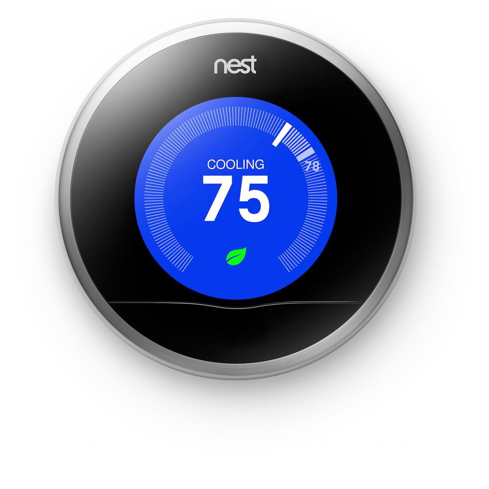 nest 2nd generation 7 day learning wi fi programable thermostat refurbished t200477r the home. Black Bedroom Furniture Sets. Home Design Ideas
