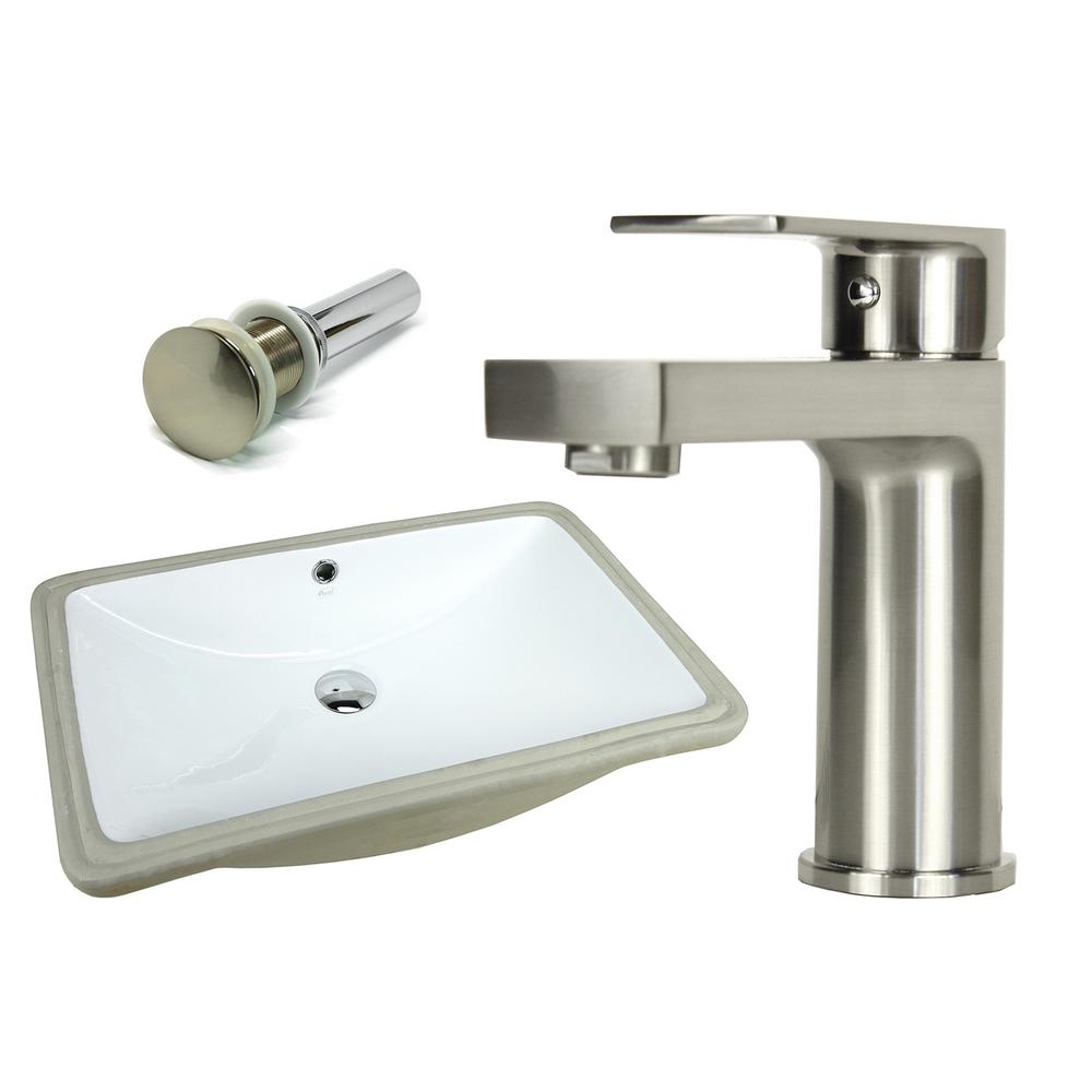 Rectangle Undermount Vitreous Glazed Ceramic Sink With Brushed Nickel Bathroom Faucet