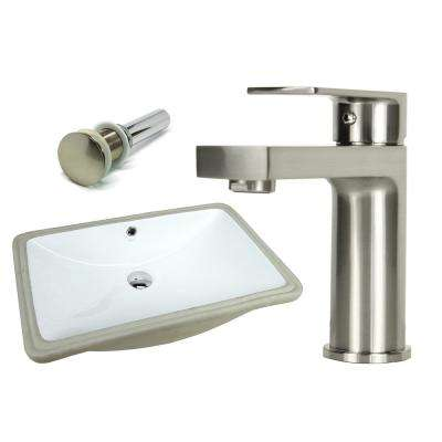 24 in. Rectangle Undermount Vitreous Glazed Ceramic Sink with Brushed Nickel Bathroom Faucet / Pop-up Drain Combo