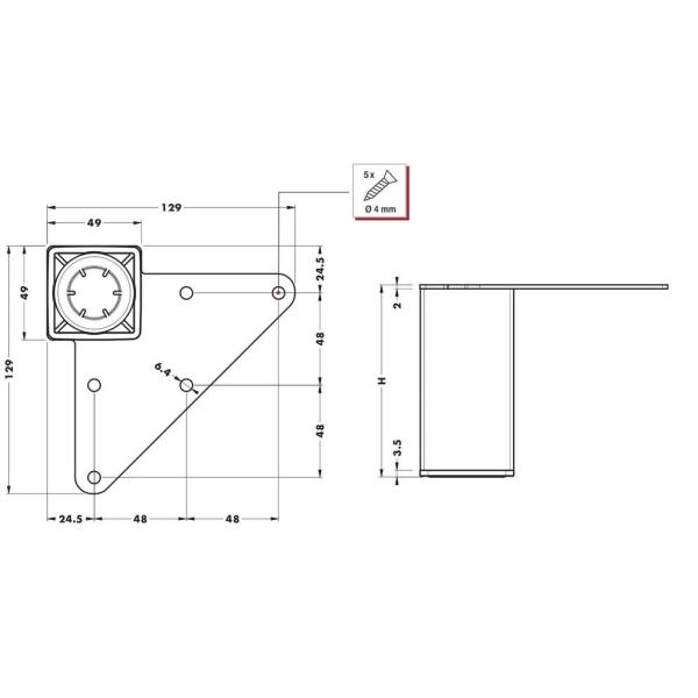 White Furniture Supports Rectangular 4er Set Height 150 mm 25 x 25 mm Furniture Legs Metal